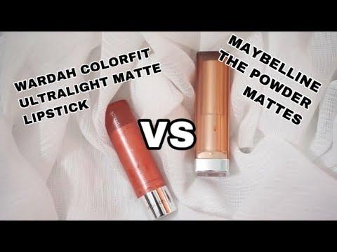 wardah-colorfit-ultralight-matte-lipstick-vs-maybelline-the-powder-mattes
