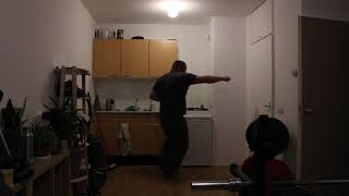 Martial arts Pivot power punches from the side with left and with right