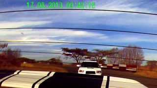 rear camera view of a subaru forester xt chasing a chev lumina 6 0l ssv on the track