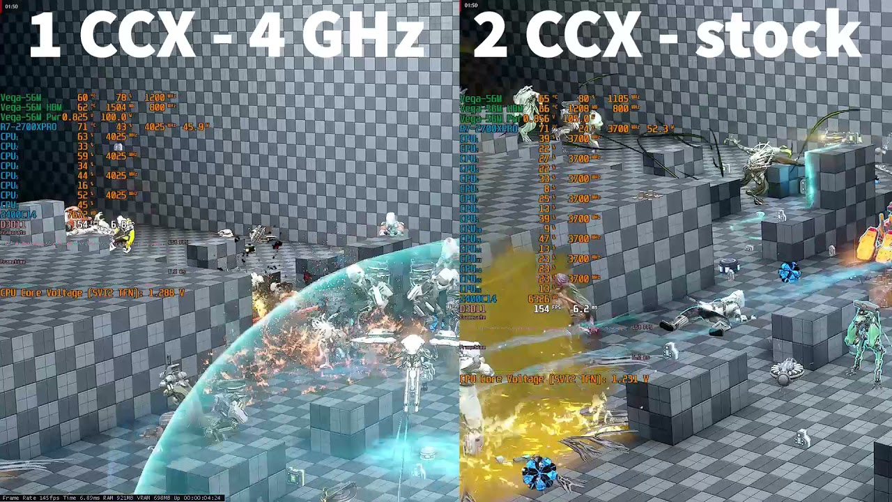 (Test) 2700X (PRO) in Warframe: 1 CCX 4 GHz vs 2 CCX stock clocks (updated with detailed results).