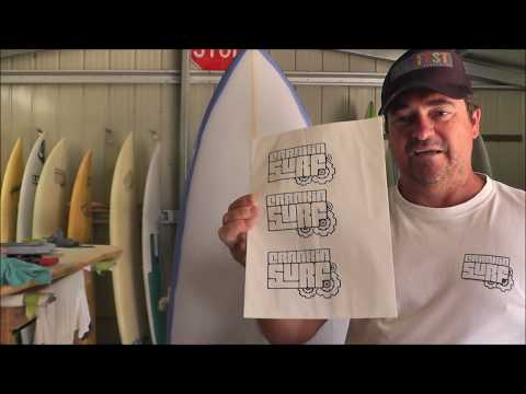 Making a Surfboard - Printing Logos on Rice Paper
