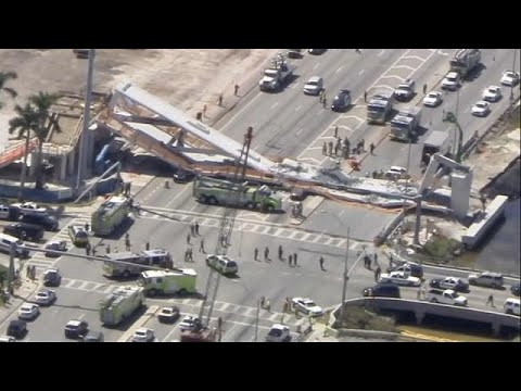 Media in Florida report several people killed after pedestrian bridge collapses