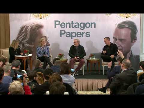 The Post (Pentagon Papers) press conference with Meryl Streep, Tom Hanks, Steven Spielberg