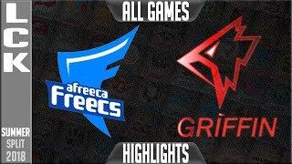 Afreeca Freecs vs Griffin HIGHLIGHTS ALL GAMES   LCK Summer 2018 Week 5 Day 1   AFS vs GRF Series
