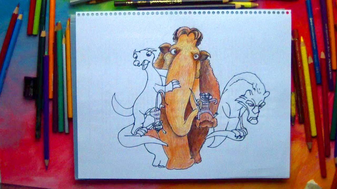 Sid, Diego y Manny de la Era de Hielo Tutorial de Dibujo Fácil para ...