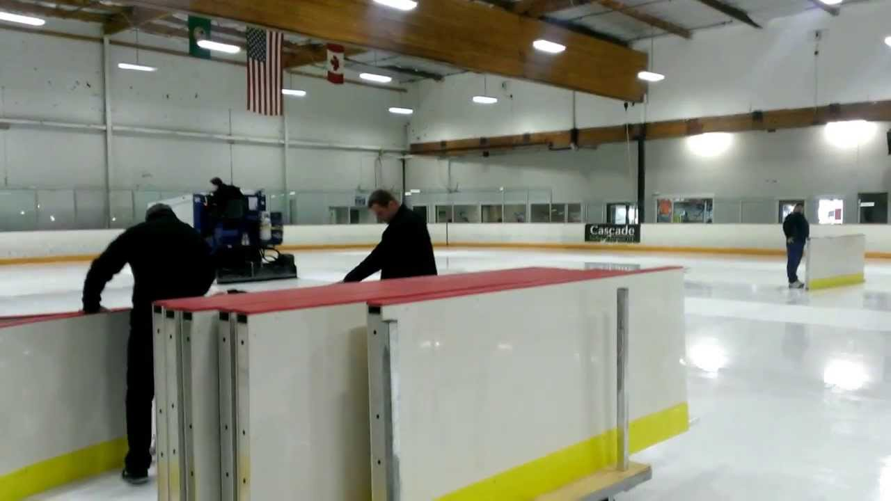 installing the temporary rink dividers youtube