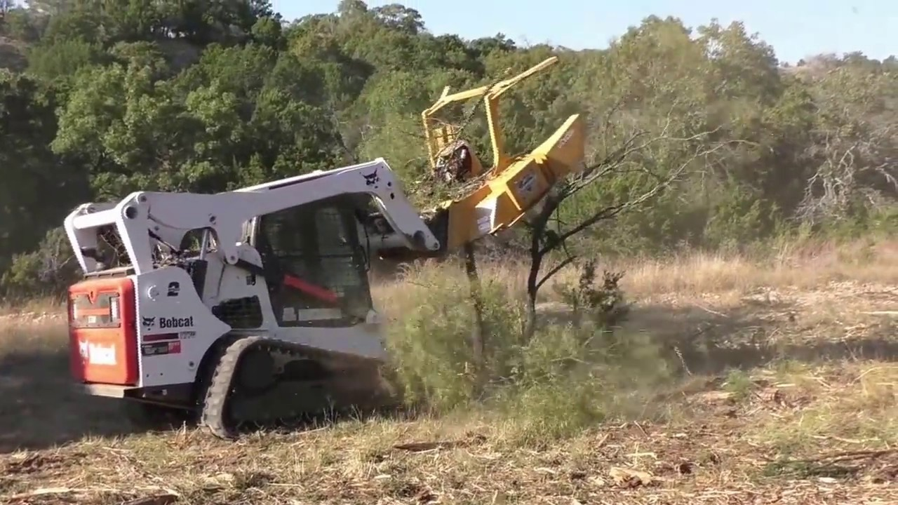 Skid Steer Forestry Mulcher Demolishing Mesquite In Texas