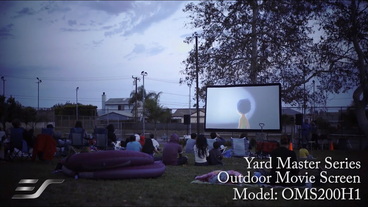 elite screens yard master series outdoor projection screen in use