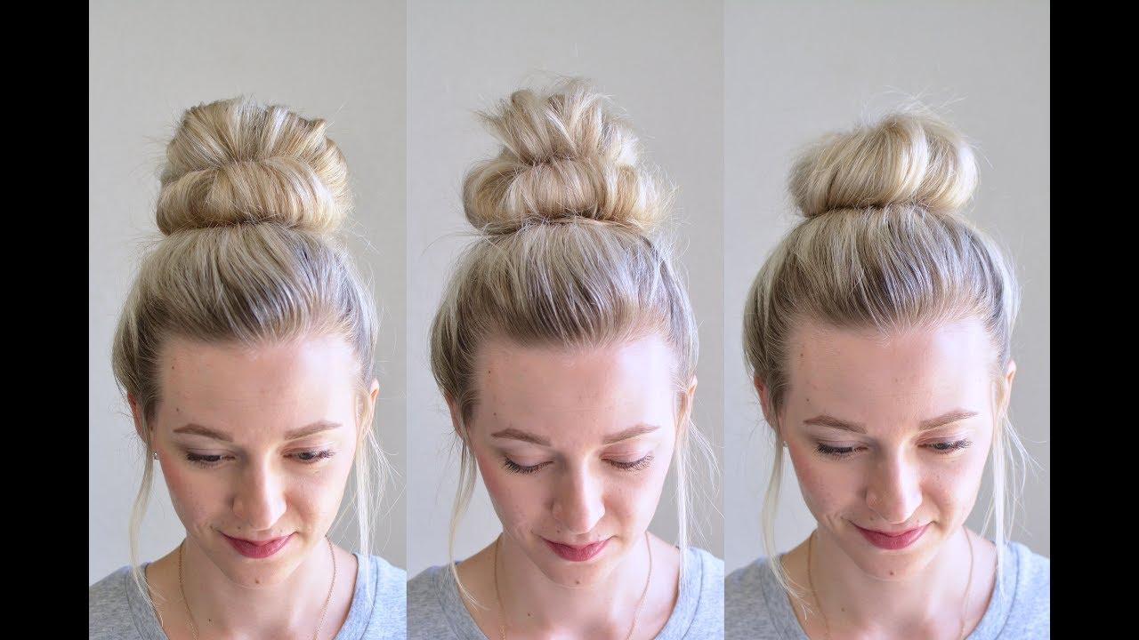 3 Messy Bun Top Knots Using No Bobby Pins Qs Hairdos Tessis