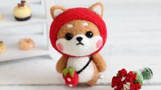 淘宝 梧桐家羊毛毡 · strawberry Dog DIY tutorial 羊毛毡wool felt视频教程教学strawberry