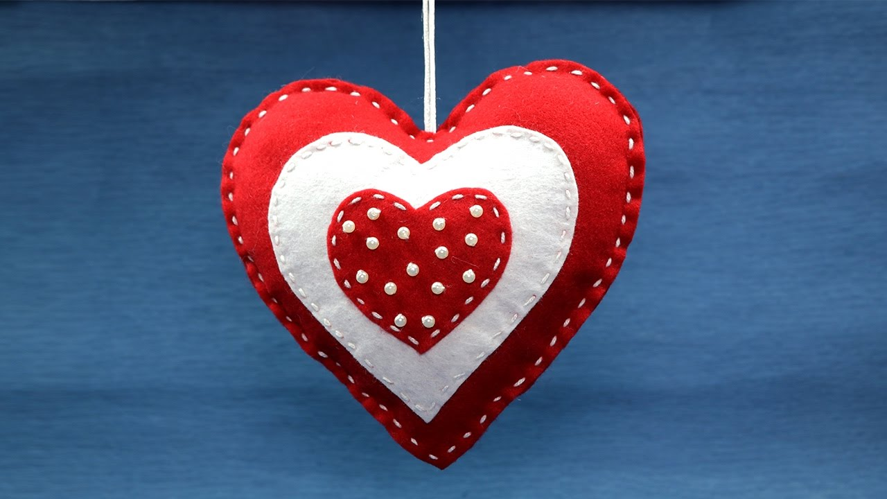 Valentine Crafts Diy Decoration Ideas Felt Heart Hangings You