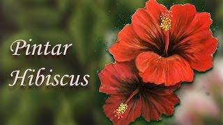 Pintar Hibiscus, Painting Hibiscus – Artesanato em Espanhol