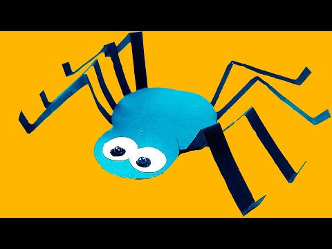 Halloween diy - paper spider fun craft ideas for kids. Halloween decorations for home. AlenaAn Craft