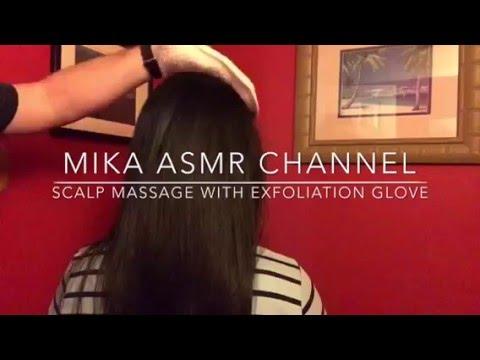 scalp massage with exfoliation glove (amplified ASMR audio) 👋🏼👩🏻👋🏼