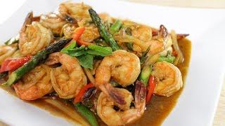 Shrimp & Chili Paste Stir-fry กุ้งผัดนำ้พริกเผา - Hot Thai Kitchen