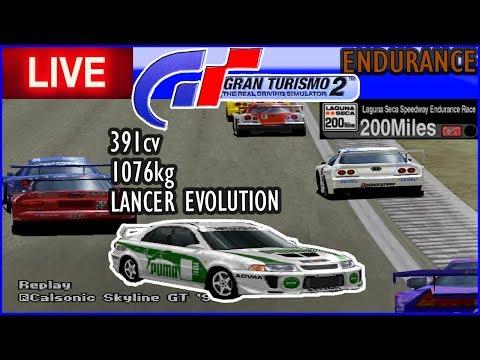 MITSUBISHI LANCER EVOLUTION nas 200 MILHAS DE LAGUNA SECA - Gran Turismo 2 Endurance - AO VIVO thumbnail