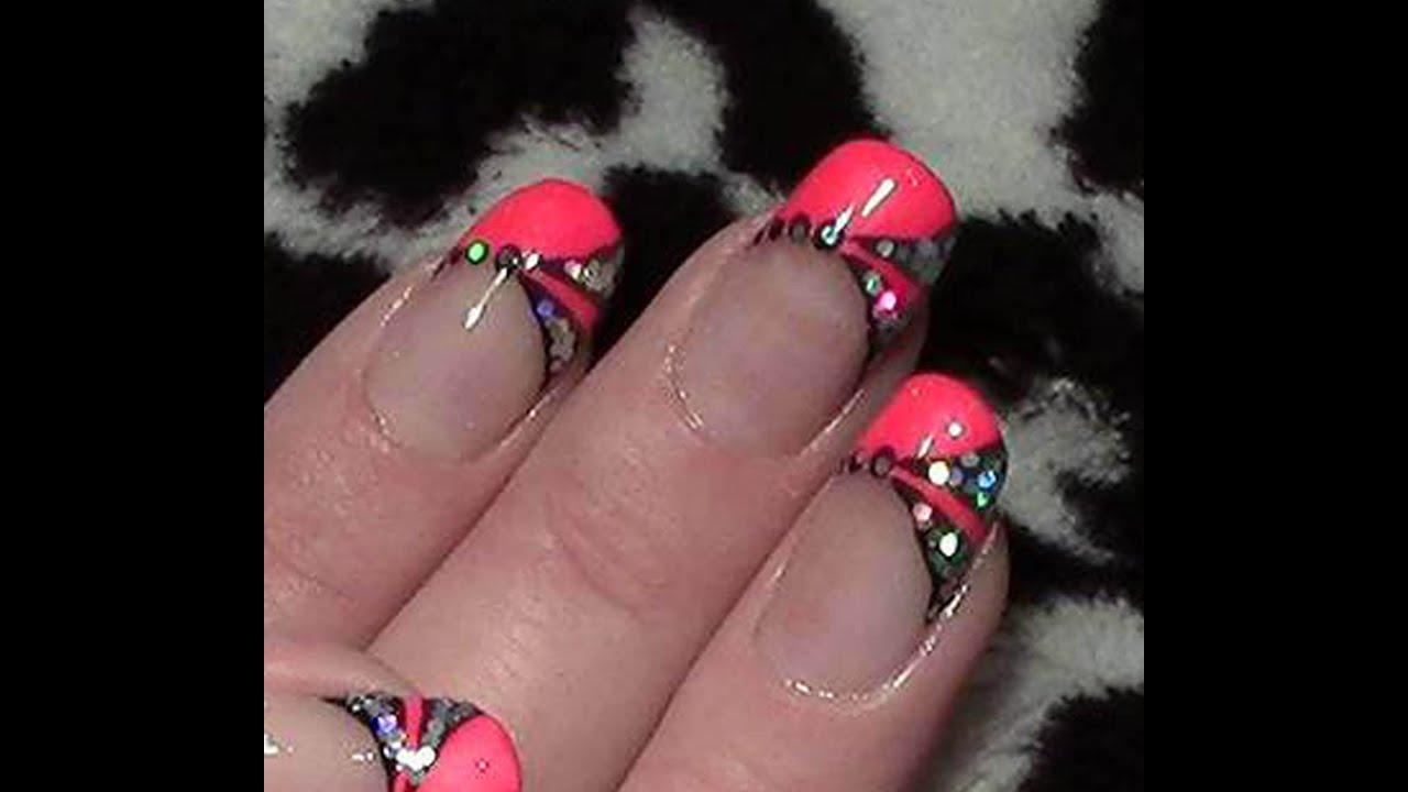 Pink Neon Nageldesign / Fingernägel lackieren / Pailletten Glitter ...