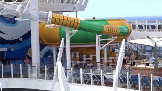 The three water slides on harmony of seas are called typhoon, cyclone and supercell. these to take you a wet, wild ride. this is ...