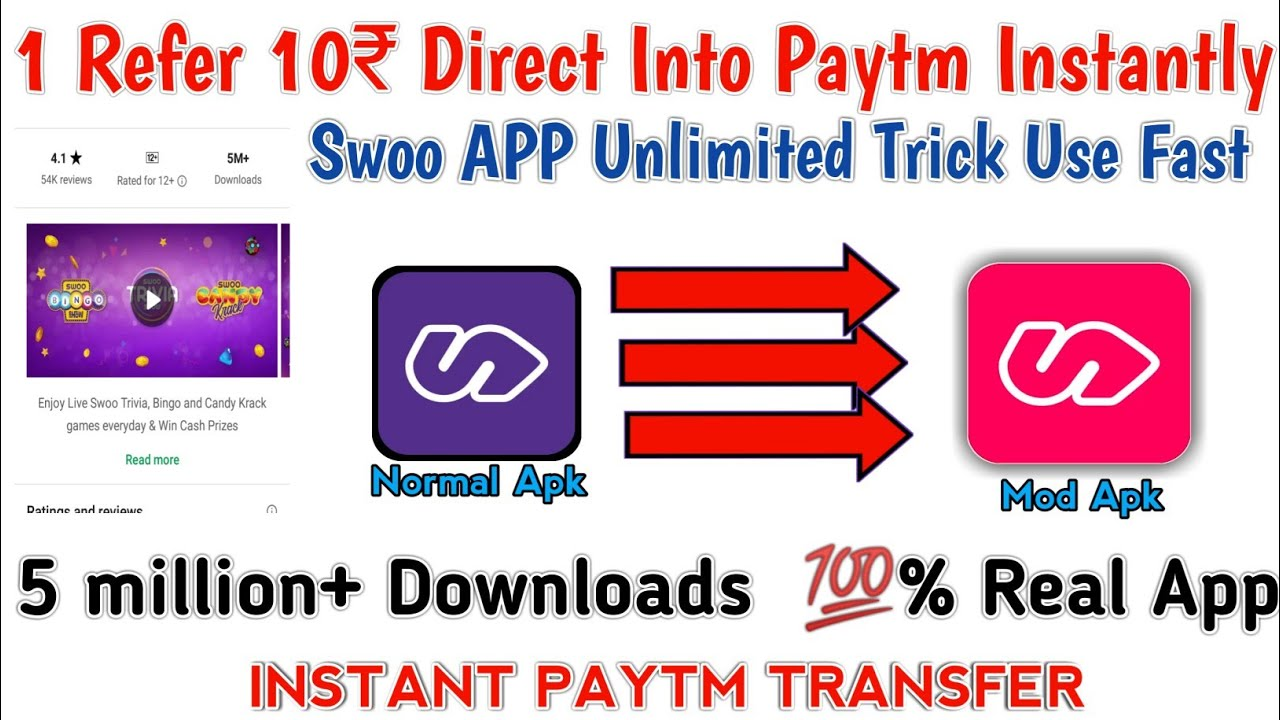 🔴Swoo App Unlimited Trick 1 Refer 10₹ Directly Into Paytm!! Mod Apk  Download Link!!™️®️