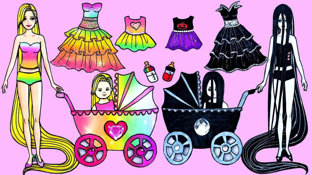 Tips Dan Trik Boneka Kertas - Peri Rapunzel Dan Hantu Sadako Ibu Dan Anak - Barbie Story & Crafts