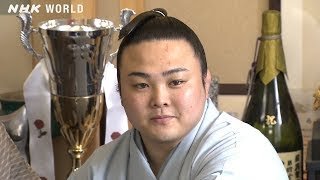 Enho [炎鵬] is the smallest wrestler in sumo's top division, but he...