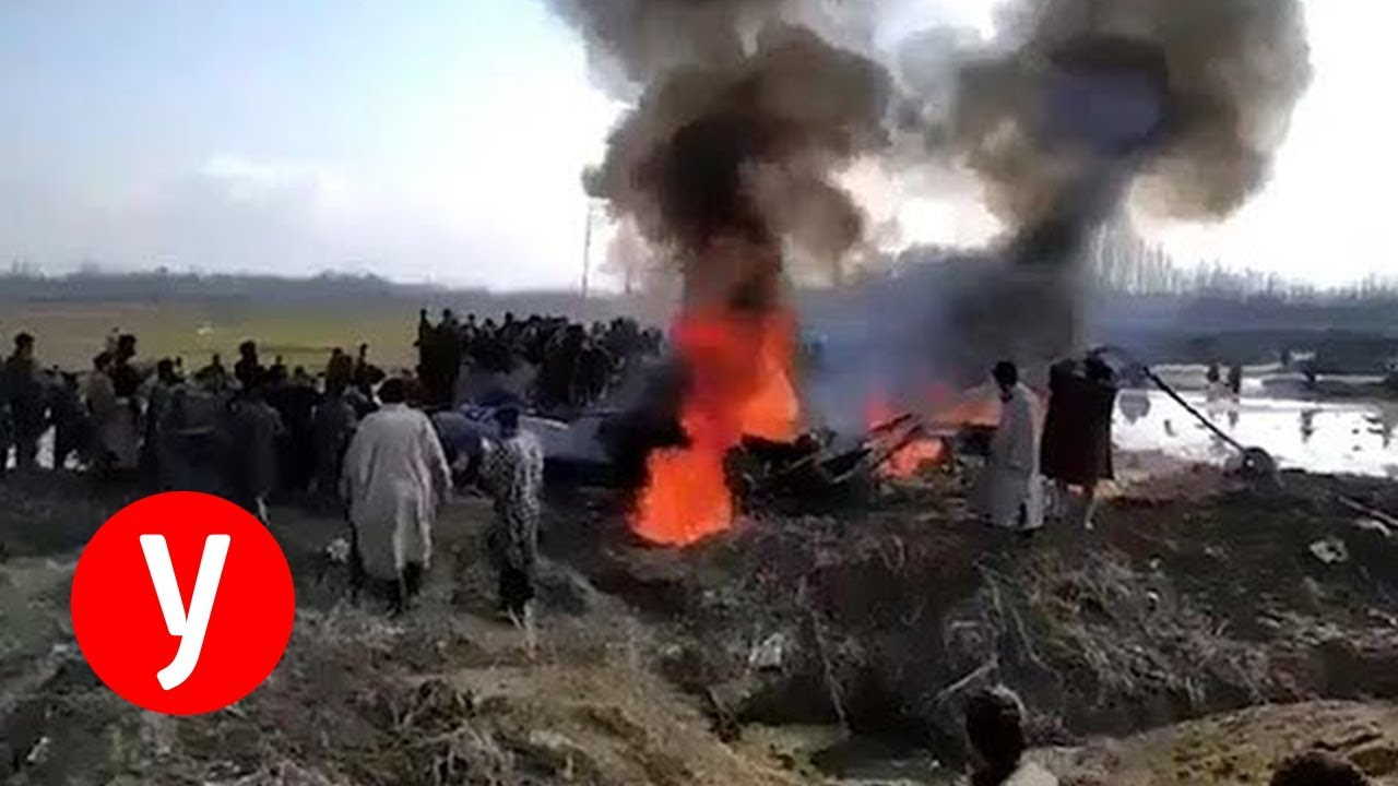 אחד המטוסים ההודיים שהפילה פקיסטן עולה באש