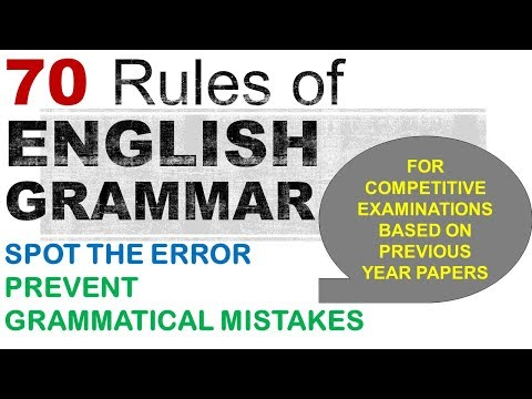 70 English Grammar Rules, Error detection and Correction for Bank Exams, SSC