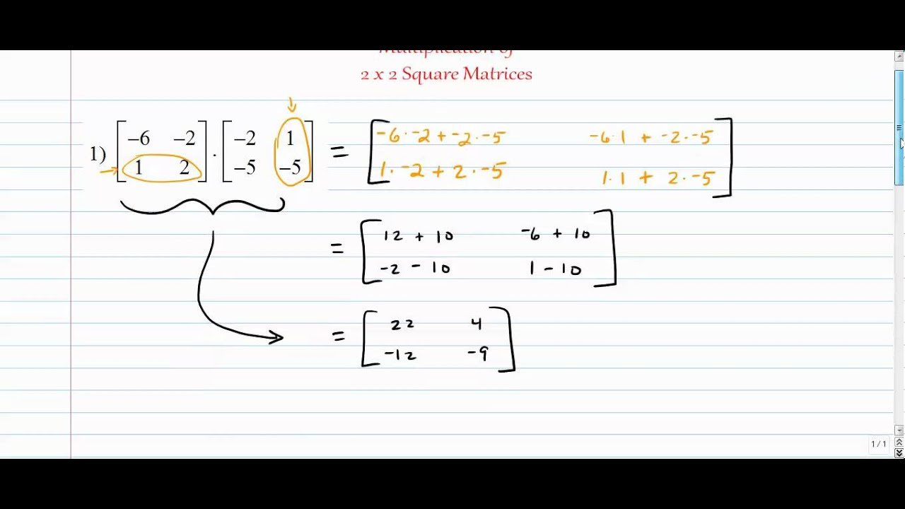 worksheet 2×2 Multiplication matrices multiplication of 2x2 square youtube matrices