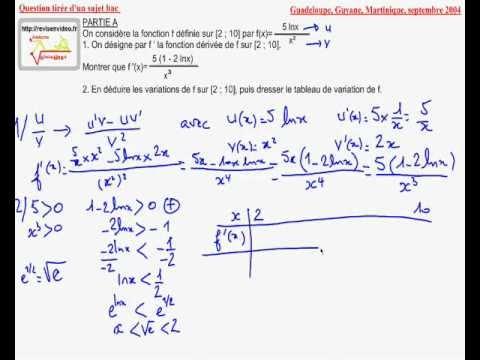 Dérivée et variation d'une fonction logarithme - YouTube