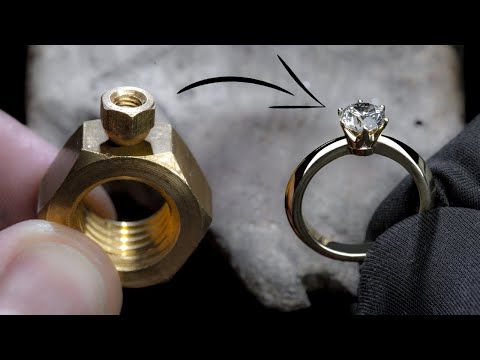 f121c850c0610 I TURN 2 HEX NUTS into a 1 Ct DIAMOND RING - YouTube