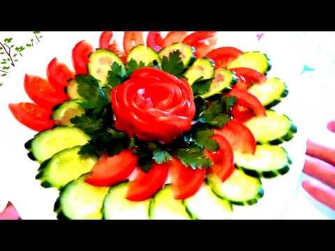 Украшения из огурца и помидора! Decoration of tomato and cucumber!