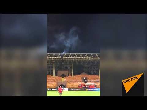 Матч футбольных легенд в Ереване завершился пожаром на крыше стадиона