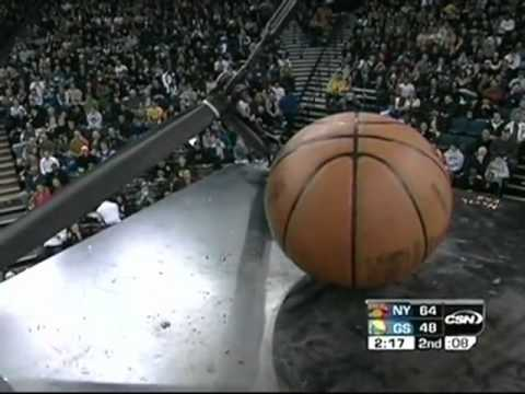 NBA Bloopers - ball gets stuck on top of shot clock