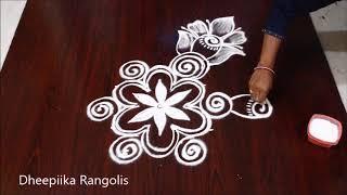 beautifull rose flower rangoli design with 5x3 dots l rose kolam design l new muggulu