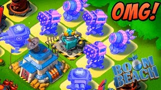 BOOM BEACH | CRAZY ROCKET & SHOCK LAUNCHER BOOST! | Take Down Hammerman EASY!