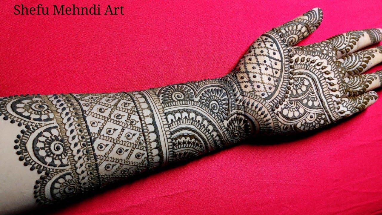 easy full hand mehndi design for bride