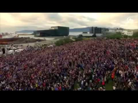 Lots of Iceland's Population Crammed In 1 Square In Reykjavík Watching EURO 2016.