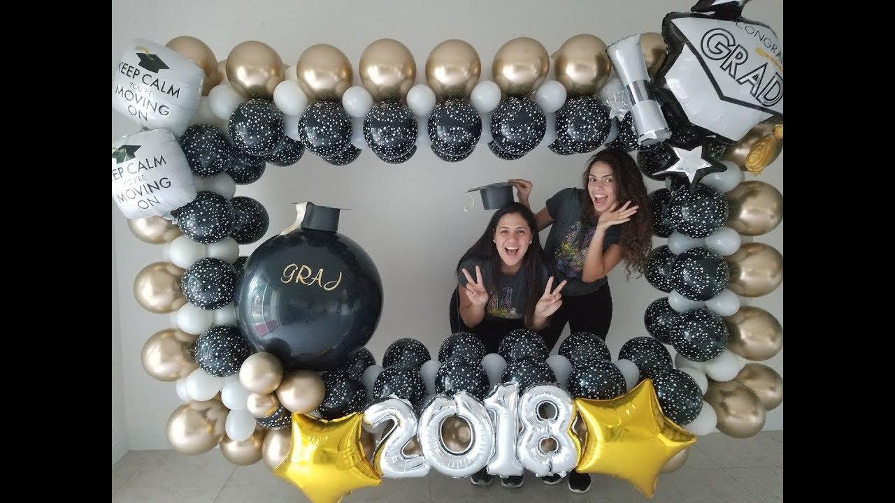 como hacer un marco de globos para graduaci u00f3n