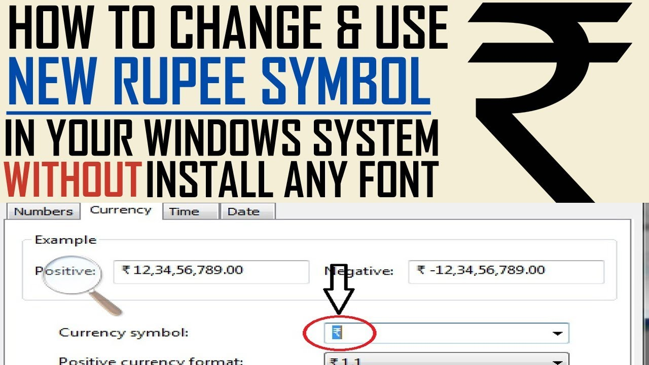 How To Change New Indian Rupee Symbol Without Font Installation In