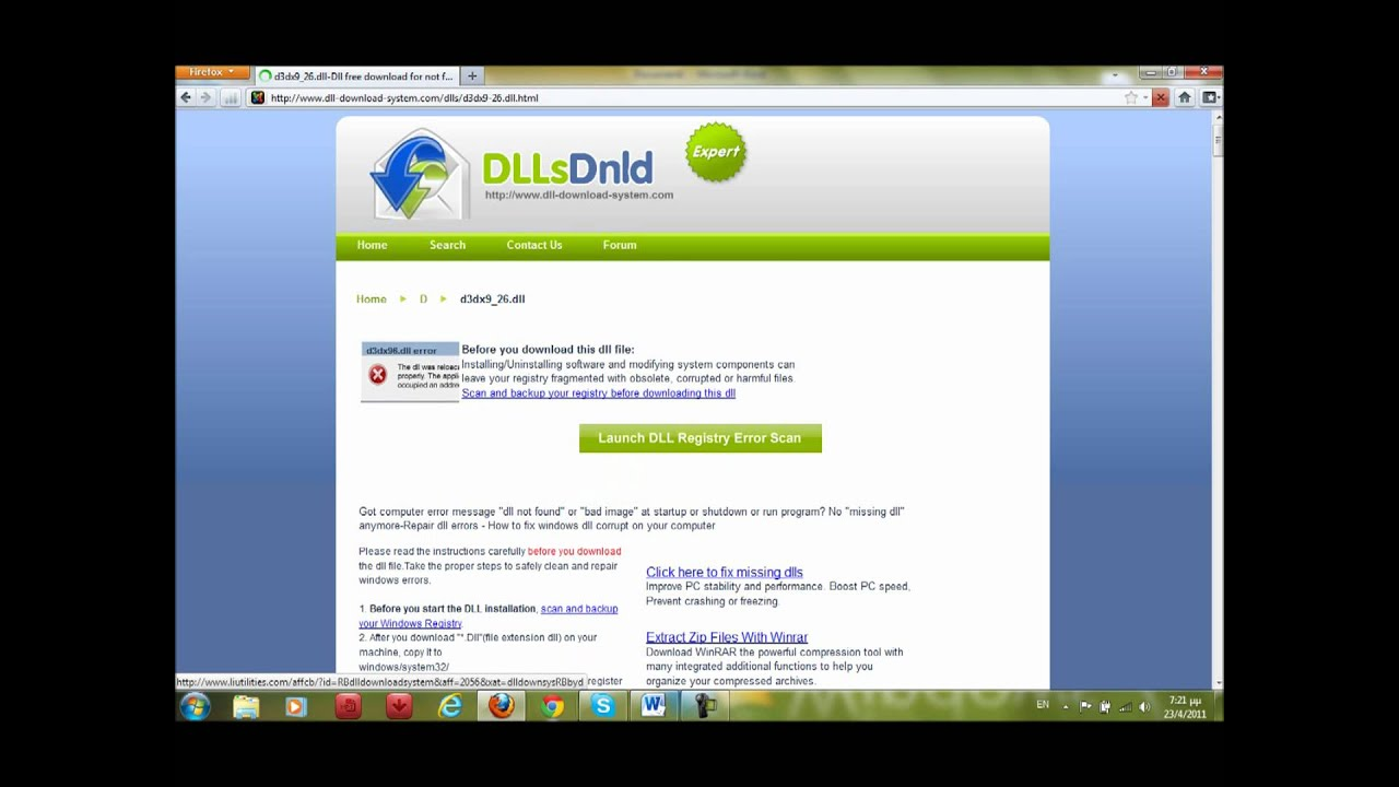 the file d3dx9_26.dll missing from your computer - YouTube