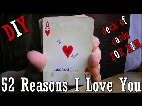 DIY 52 Reasons I Love You deck of cards tutorial