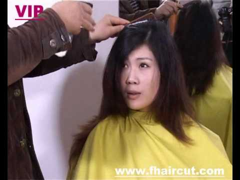how to style long hair for women model in dye hair cut to 6158 | hqdefault