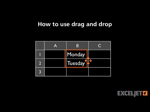 How to use drag and drop in Excel