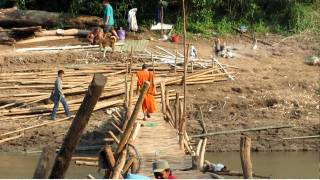 Bamboo Bridge Construction, Luang Prabang, Laos 01
