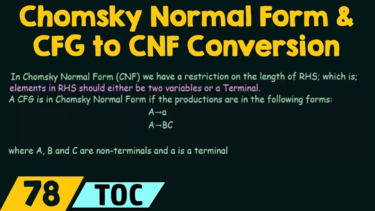 Chomsky Normal Form & CFG to CNF Conversion - YouTube