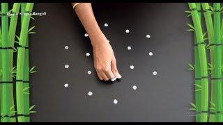 Beautiful Rangoli Design with 5X3 Dots | Easy Kolam Designs | Simple Rangoli Designs | Muggulu