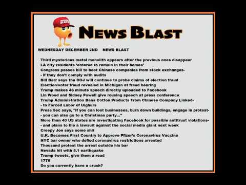 Wednesday, December 2, 2020 News Blast. #NBR #NewsBlastReadings #Enoch