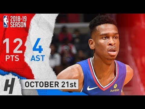 Shai Gilgeous-Alexander Full Highlights Clippers vs Rockets 2018.10.21 - 12 Pts, 5 Reb, 4 Ast
