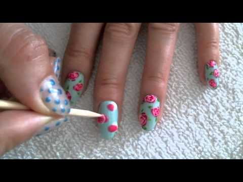 Vintage Rose Gel Nail Art Tutorial Youtube