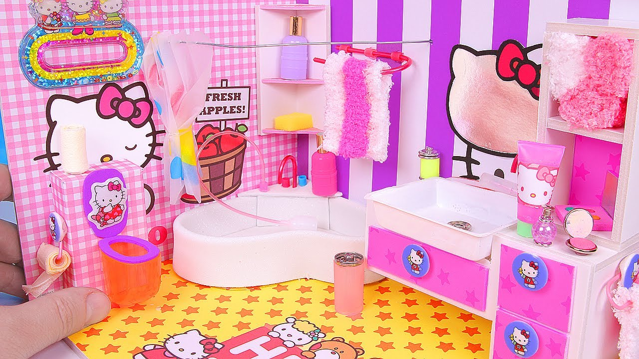 diy miniature hello kitty bathroom youtube. Black Bedroom Furniture Sets. Home Design Ideas